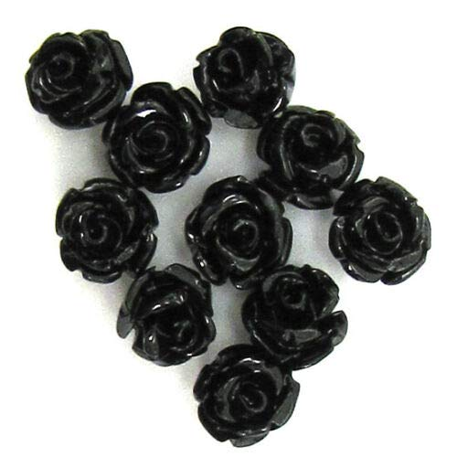 buyallstore 10 6mm Synthetic Coral Carved Rose Flower Pendant Bead Black