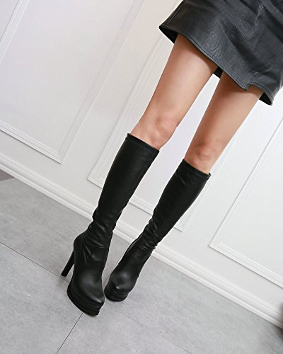 Boots Cashmere High Heeled Black Sexy Slim Female Boots And High Boots Waterproof KPHY And Knee Winter wPxz4qTwO