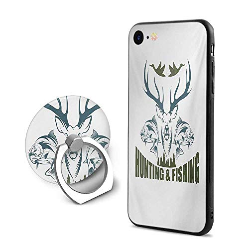 Hunting iPhone 7/iPhone 8 Cases,Artistic Animals Emblem Moose Head Horns Trout Salmon Sea Fishes Olive Green Slate Blue White,Design Mobile Phone Shell Ring Bracket