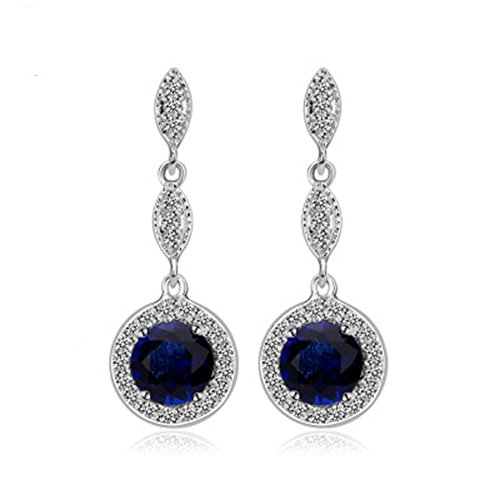[YuanS Shaped Plating White Gold Inlaid Cubic Zirconia Round Blue Dangle Earrings for Women] (Simple Halloween Costumes For High School)
