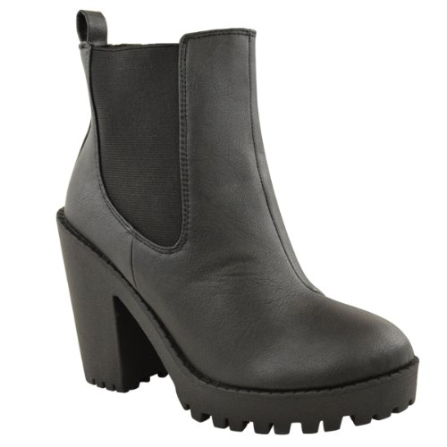 HEEL Black Leather CASUAL Faux MID ELASTICATED BOOTS HIGH ANKLE SIZE Thirsty SHOES WOMENS BLOCK LADIES Fashion p8OAq