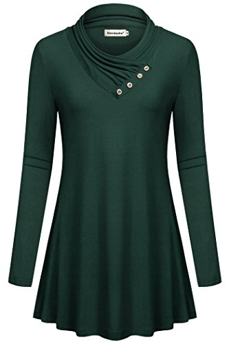 Nandashe Women Long Sleeve Cowl Neck Button Decorate Casual Tunic Tops Blouse