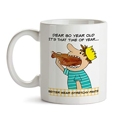 80 Year Old Gift Mug - Birthday Best Ever Cup - Male Family Celebration Funny Gag Joke Cartoon Thank You Appreciation Present For -
