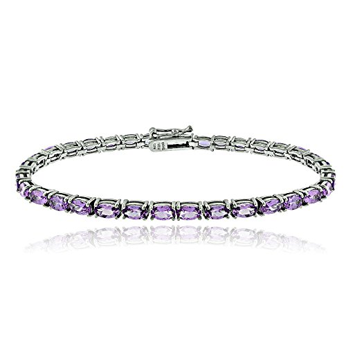 (Ice Gems Sterling Silver African Amethyst 5x3mm Oval Tennis Bracelet)
