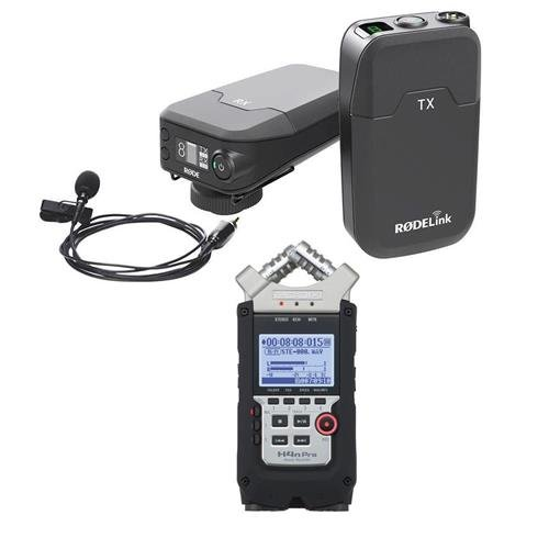 Rode Microphones RODELink Digital Wireless System - Includes TX-BELT Transmitter, RX-CAM Wireless Receiver, Lavalier Microphone, Captive TRS Cable - With Zoom H4n Pro Handy Mobile 4-Track Recorder by Rode