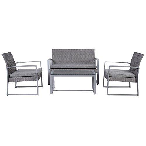 Goplus Durable 4pc Patio Furniture Set Cushioned Outdoor Wicker Rattan Garden Lawn Sofa By