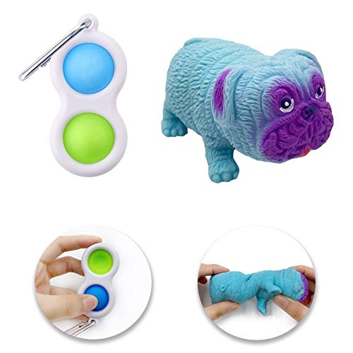 Squishy Toys, Simple Dimples and Sensory Fidget Pug Dog Toy Set for Autistic Children, Boys and Girls to Stress Relief, Anti-Anxiety, Squeeze Decompression (Blue)