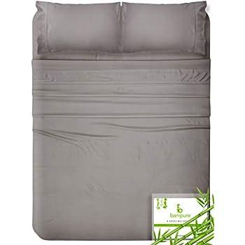 Bamboo Sheets Queen Bamboo Sheets - 100% Organic Bamboo Bed Sheets Queen Sheet Set Cooling Sheets Queen Size Sheets Deep Pocket Queen Sheets Queen Bed Sheets Queen Size Cool Sheets Stone Gray