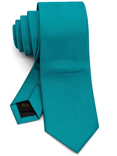 WANDM Men's Slim Skinny Tie Business Necktie Width 2.4 inches Washable Plain Solid Color Grosgrain Teal Blue Emerald -