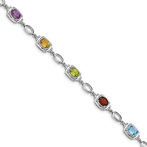 Cut Multi Gemstone Bracelet (Sterling Silver Multi Gemstone Link Bracelet 7.5