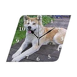 HangWang Wall Clock Akita Dog Silent Non Ticking Decorative Diamond Digital Clocks Indoor Outdoor Kitchen Bedroom Living Room