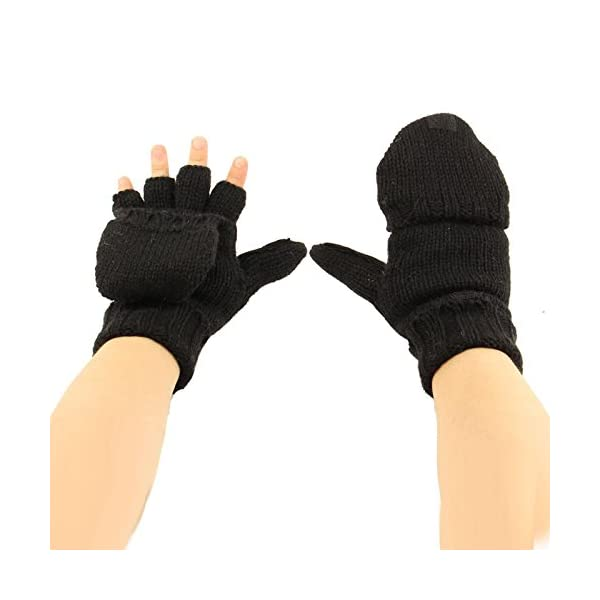 Mens Thinsulate 3M 40 gram Black Insulated Knit Thermal Winter Fingerless Gloves