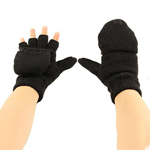 Men's Thinsulate 3M Thick Wool Knitted Half Mitten Suede Palm Gloves L/XL Black