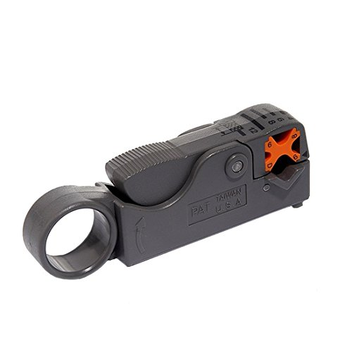 Coax Cable Stripper HT-322 Rotary Stripping Tool RG-6 Thumb-Wind Style 2 Blade Coax Stripper for RG-6, RG-6Q, RG-59 Coax Cable Adjustable Size for F Connector Install Prep
