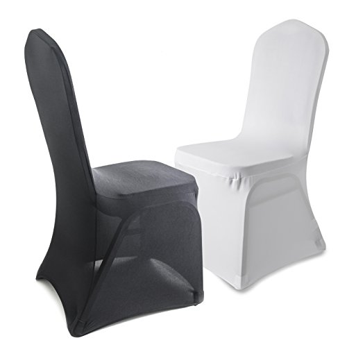 VOTOWN HOME Folding Chair Covers Spandex Black Wedding Decorations 12 pcs