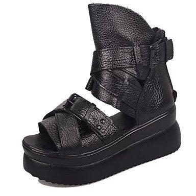 LvYuan Mujer-Tacón Bajo-Confort-Sandalias-Oficina y Trabajo Vestido Informal-Cuero-Negro Black