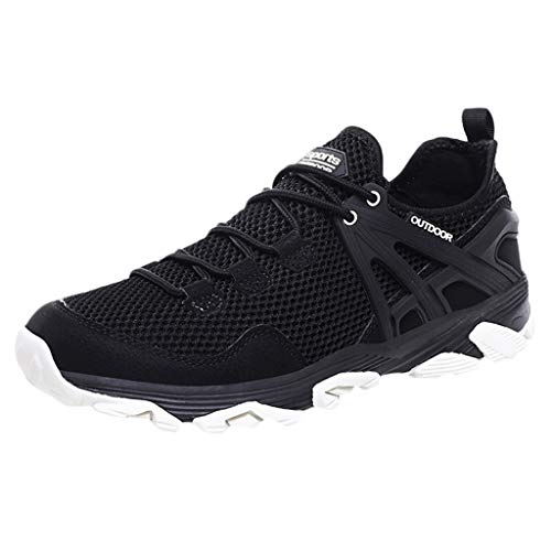(JUSTWIN Outdoor Sport Running Shoes Men's Mesh Breathable Hiking Shoes Non-Slip Lace-up Thick Bottom Shoes Black)
