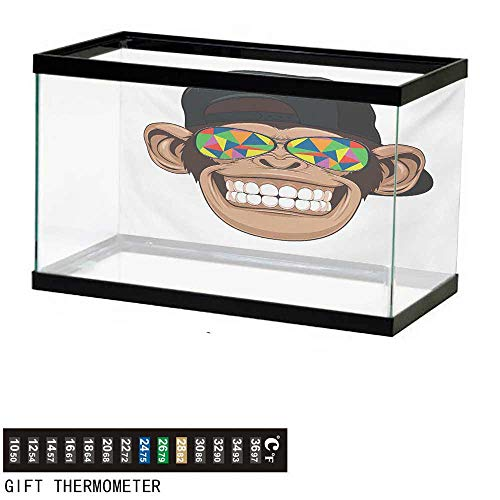 wwwhsl Aquarium Background,Monkey,Funny Hipster Animal Chimpanzee Character Portrait with Colorful Geometric Glasses,Multicolor Fish Tank Backdrop 36