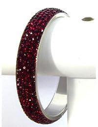 Red Wine Crystal Bracelet Bangle 5-Row Large India Designer Bridal Jewelry Swarovski Quality 6.7cm Diameter