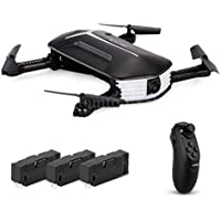 E-SCENERY RC 2.4G Fpv 6-Axis Gyro 4CH 3D Flip Foldable Quadcopter, Remote Control Innovative Selfie Drone with Wifi 720P HD Camera and 3 × Rechargeable Batteries