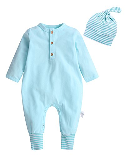 Kidsform Unisex Baby Cotton Bodysuit Stripe Footless Pajamas Sleepwear Onesie Outfit With Hat Blue - Baby Sleeping Suit Body