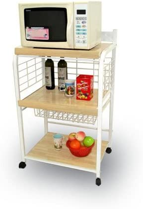 Amazon Com Small White Metal Wood Portable Microwave Cart Kitchen Storage Carts Kitchen Dining