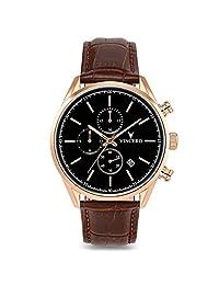 Vincero Luxury Men's Chrono S Wrist Watch - Top Grain Italian Leather Watch Band - 40mm Chronograph Watch - Japanese Quartz Movement (Rose Gold)