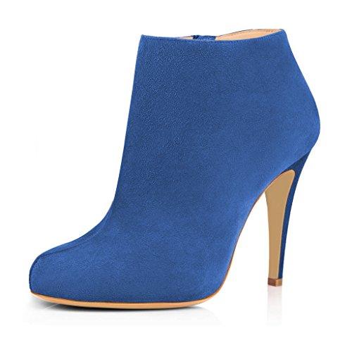 FSJ Women Fashion High Heels Ankle Boots Faux Suede Almond Toe Side Zipper Office Shoes Size 4-15 US Blue