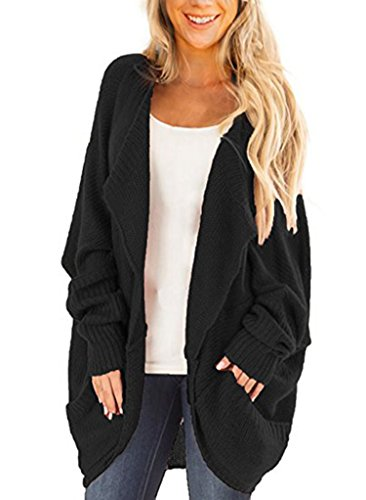 Leindr Women's Loose Open Front Batwing Dolman Sleeve Knit Cardigan Sweater With Side Pockets