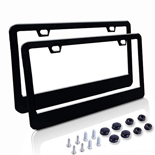 Car License Plate Frame - Matte Stainless Steel License Plate Covers with Free Screws Fasteners + Black Screw Caps (2 Pack-Black) -
