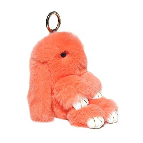 RitzyBay Handmade Rex Rabbit Fur Bunny Keychain with RitzyBay GiftBox (Small, Orange) (Best Rabbits For Fur)