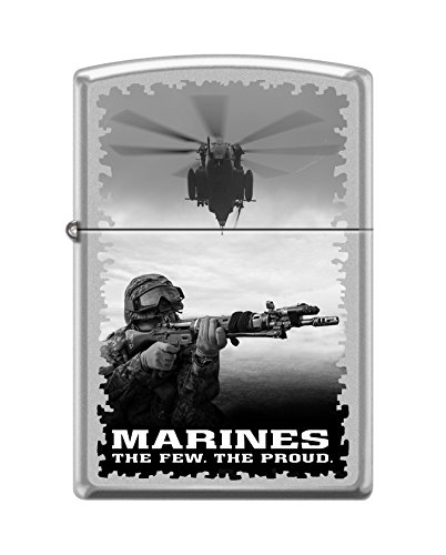 (Zippo USMC Helicopter and Soldier Satin Chrome Pocket Lighter)