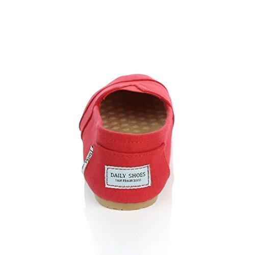 Dailyshoes Womens Classic Flat Slip-on Comfort Scarpe Sneaker Mocassini Con Memory Foam Rialzato Imbottito Superficie Di Massaggio Elastico Top Flats Scarpa Lino Rosso