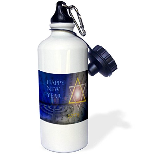 3dRose Jewish Themes - Image of Bright Mogen David With Menorah and Happy New Year - 21 oz Sports Water Bottle ()