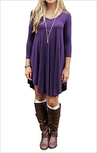 2cef5029b81f Amazon.com  TINYHI Tshirt Women Loose T-Shirt Womens Black Dress(Purple