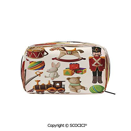 (Rectangle Organizer Toiletry Makeup Bags Pouch Vintage Wooden Toys Decor Rocking Horse Soldier Sword Blocks Doll Drum Train Retro Print Decorative Portable Makeup Brushes Bag )
