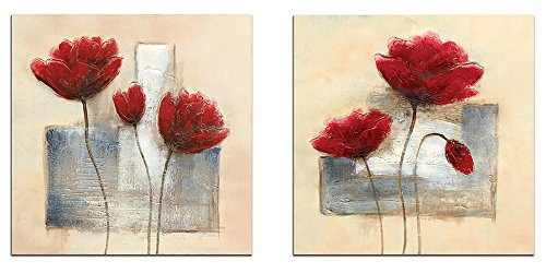 Wieco Art Charming Spring Large Modern 2 Panels Gallery Wrapped Giclee Canvas Prints Abstract Floral Oil Paintings Style Pictures on Canvas Wall Art Ready to Hang for Living Room Kitchen Home Decor ()