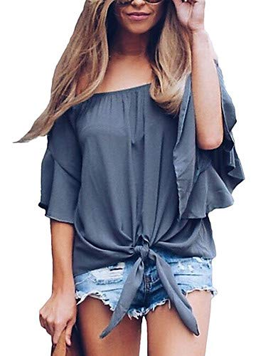 Light Femme Color YFLTZ Blouse Block gray Basic Active fqRF87
