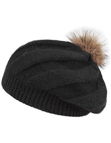 Dahlia Women's Angora Blend SlouchÿBeanie Winter Hat Dual Layer Fur Pom, Black