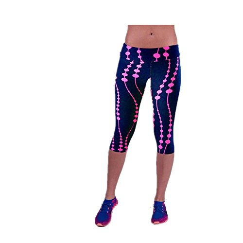 Clearance Sale! Women Pants WEUIE High Waist Fitness Yoga Sport Pants Printed Stretch Cropped Leggings (S, Hot Pink)