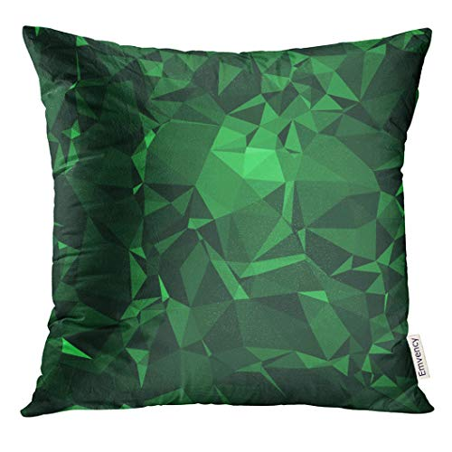 Golee Throw Pillow Cover Colorful City Emerald Stone Abstract Beautiful Gemstone in Deep and Sparkling Shades of Green Crystal Decorative Pillow Case Home Decor Square 18x18 Inches Pillowcase