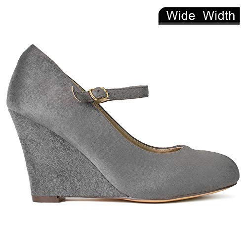 313c5c42fc5 Women s Wide Fit Mary Jane Extra Cushion Wedge Pumps (True Wide Width)