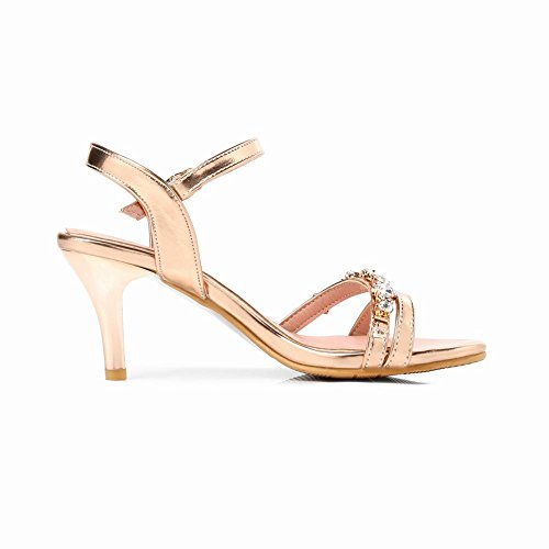 Carolbar Women's Fashion Sexy Rhinestones Mid Heel Dress Sandals Gold oO3vqDI