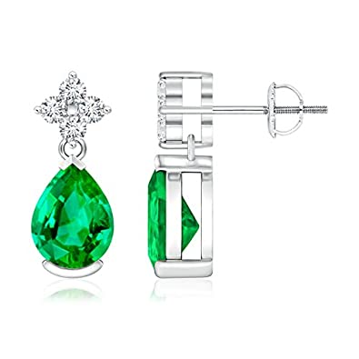 Angara Pear Shaped Emerald Teardrop Earrings in Platinum Yd1ksugyhI