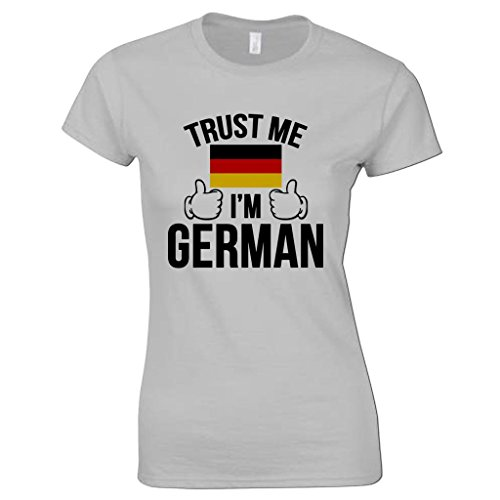 Bang Tidy Clothing Women's Trust Me I'm German T Shirt Grey XXL (Trust Me Im German)