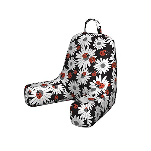 Black Ladybug Bed - Ambesonne Ladybug Bedrest with Back Pocket, Insects Chamomile Bouquets Spring Inspired Flourishing Revival Theme Pillow for Reading and Gaming Dorm Room Accessory, Small, Dark Coral Black Grey