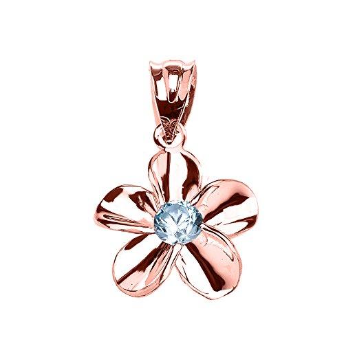 Collier Femme Pendentif 10 Ct Or Rose Hawaiienne Plumeria Bleu Zircon Élégant (Livré avec une 45cm Chaîne)