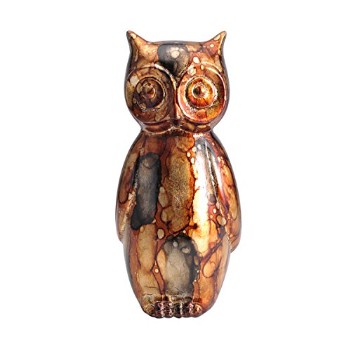 Lifetime Elements Brown Mottled Ceramic Owl, 10-Inches