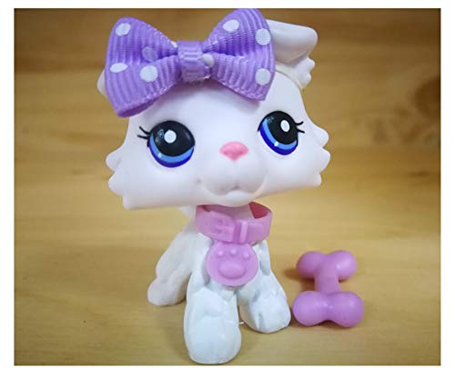 Toy Rare LPS White Collie with Purple Eyes Custom Dog Puppy can Draw Pattern OOAK with Accessories Lot Collection Figure Boys Girls Kids Gift (White with Purple Eyes) -