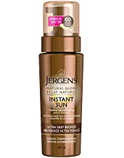 Jergens Natural Glow Instant Sun Sunless Self Tanning Mousse for Dry Skin, Ultra Deep Bronze Shade (180 mL)